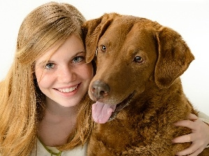 friendship, dog, smiling, girl